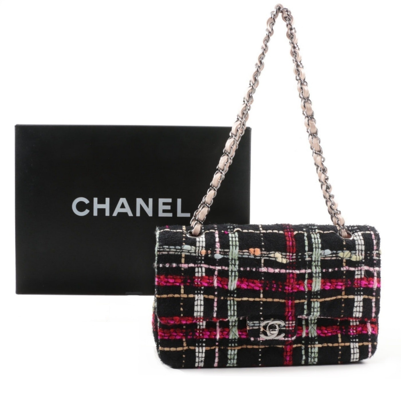 Chanel Black Tweed Medium Double Flap Handbag