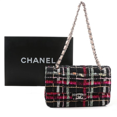 Chanel Black Tweed Medium Double Flap Handbag