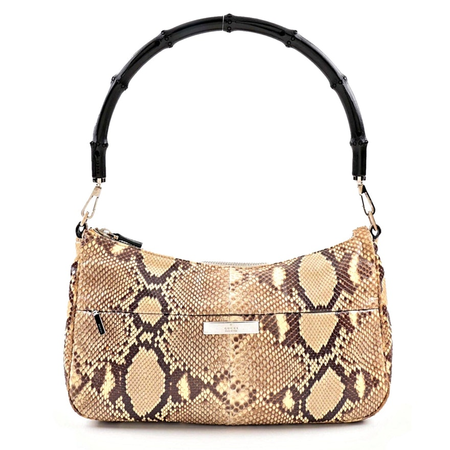 74d328578ffd Gucci Python Skin Handbag with Black Bamboo Handle   EBTH