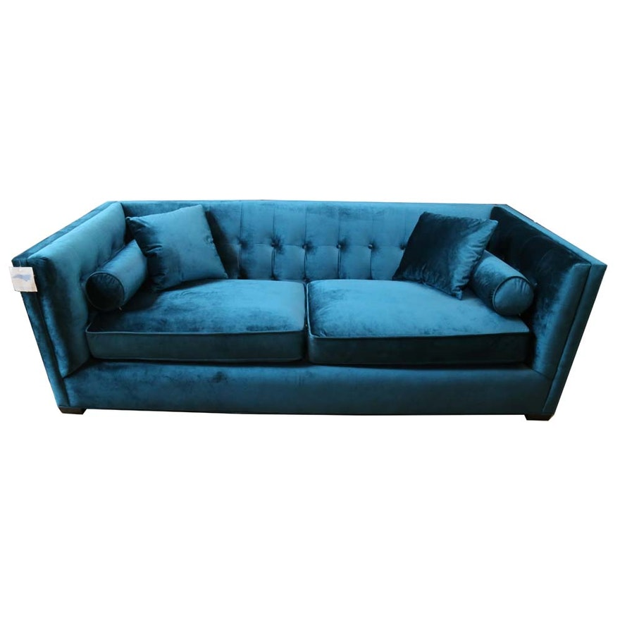 Horchow Contemporary Tufted Box Sofa