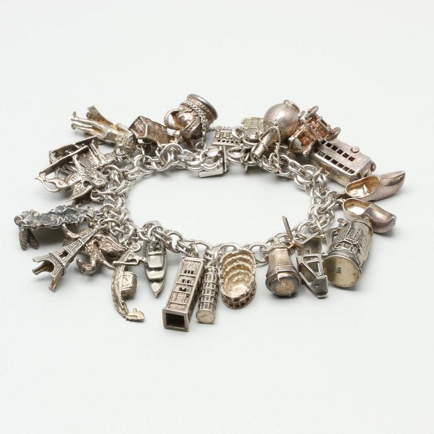 Sterling Silver Travel Charm Bracelet With Enamel