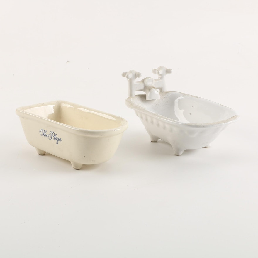 Vintage Ceramic Bathtub Shaped Soap Dishes including \