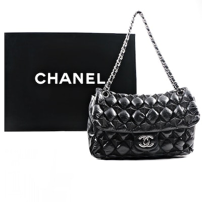 Circa 2008 Chanel Puffy Quilted Black Lambskin Flap Handbag