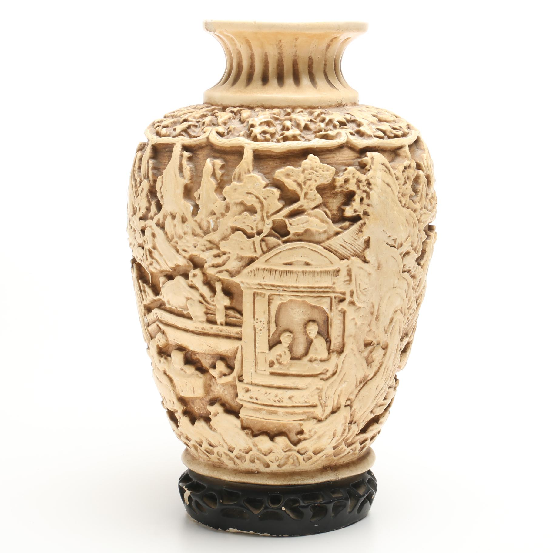 Chinese decorative plaster vase featuring bas relief carving ebth