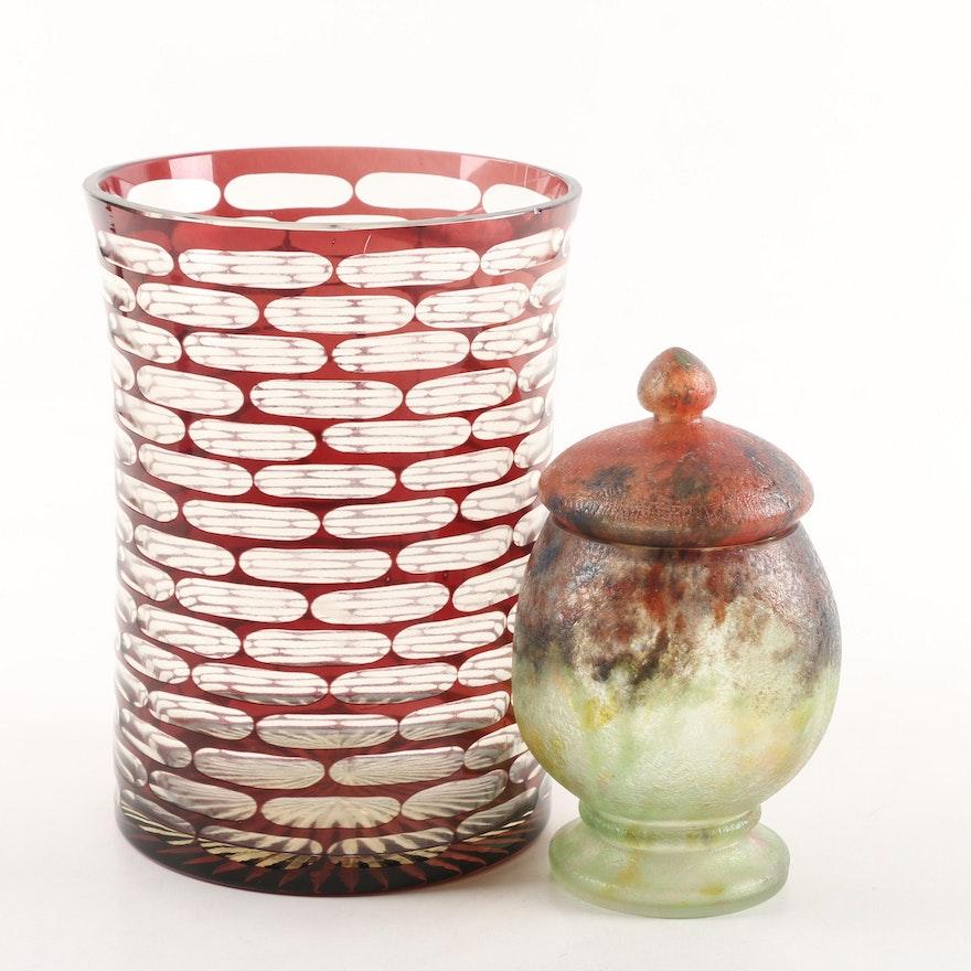 Vintage Cut Glass Vase And Czechoslovakian Blown Glass Lidded Jar Ebth