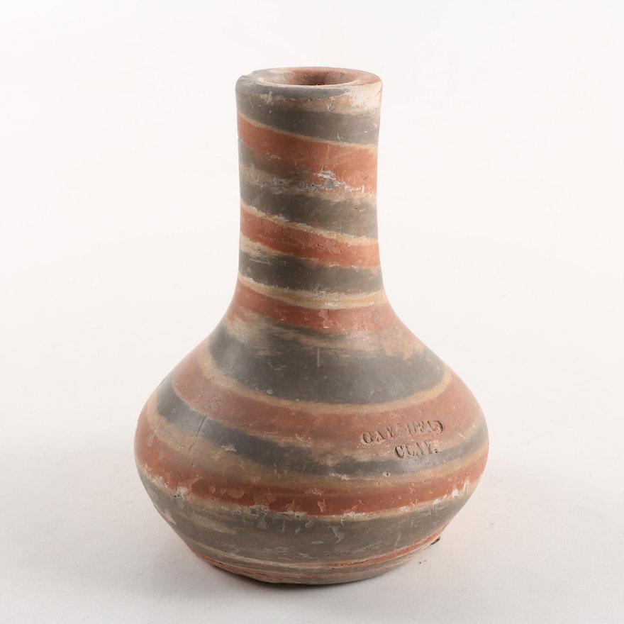 Mid Century Gay Head Clay Swirled Pottery Vase Ebth