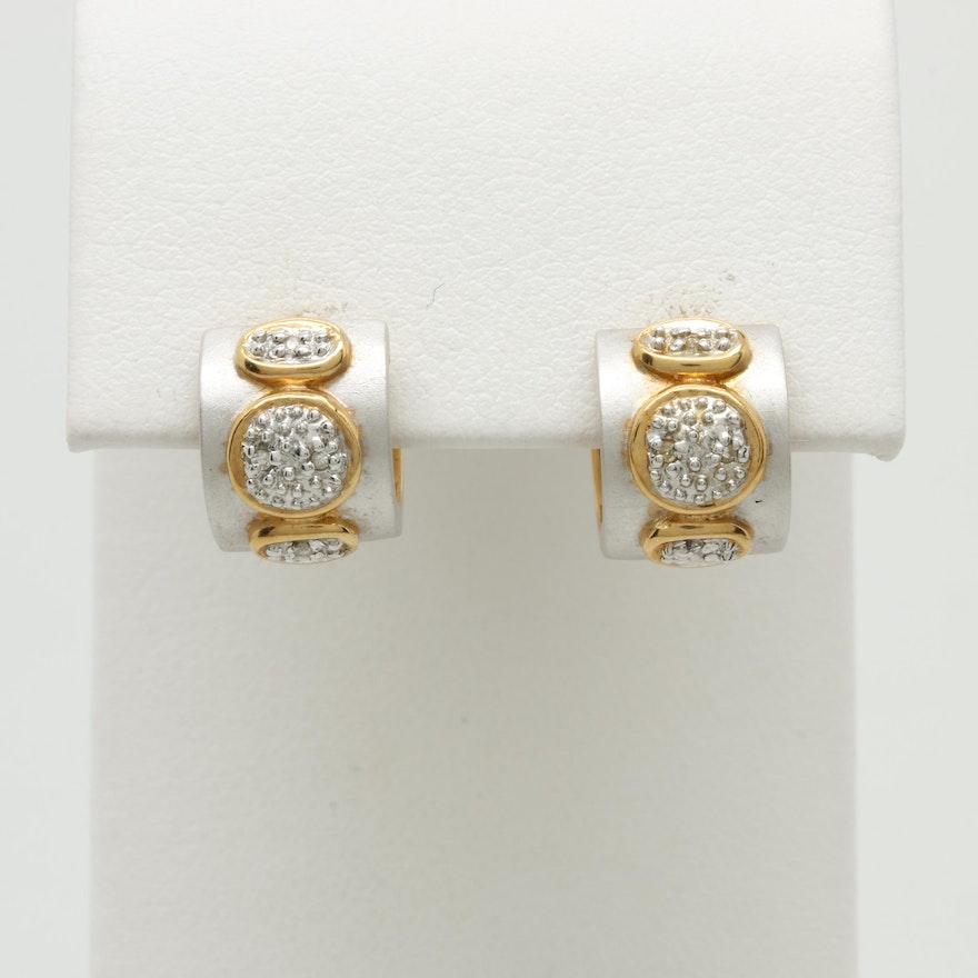 7c03f2cb6 18K White and Yellow Gold Diamond Earrings : EBTH