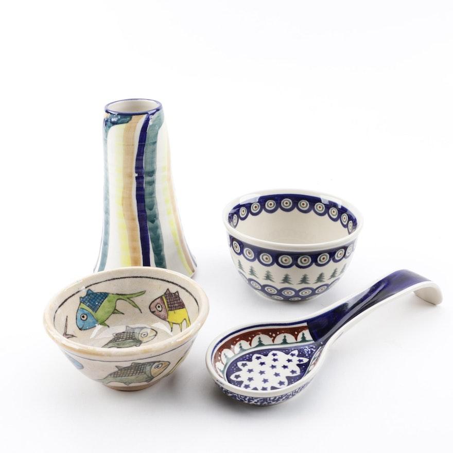 "Studio Pottery with Boleslawiec Polish Pottery featuring ""Peacock"""