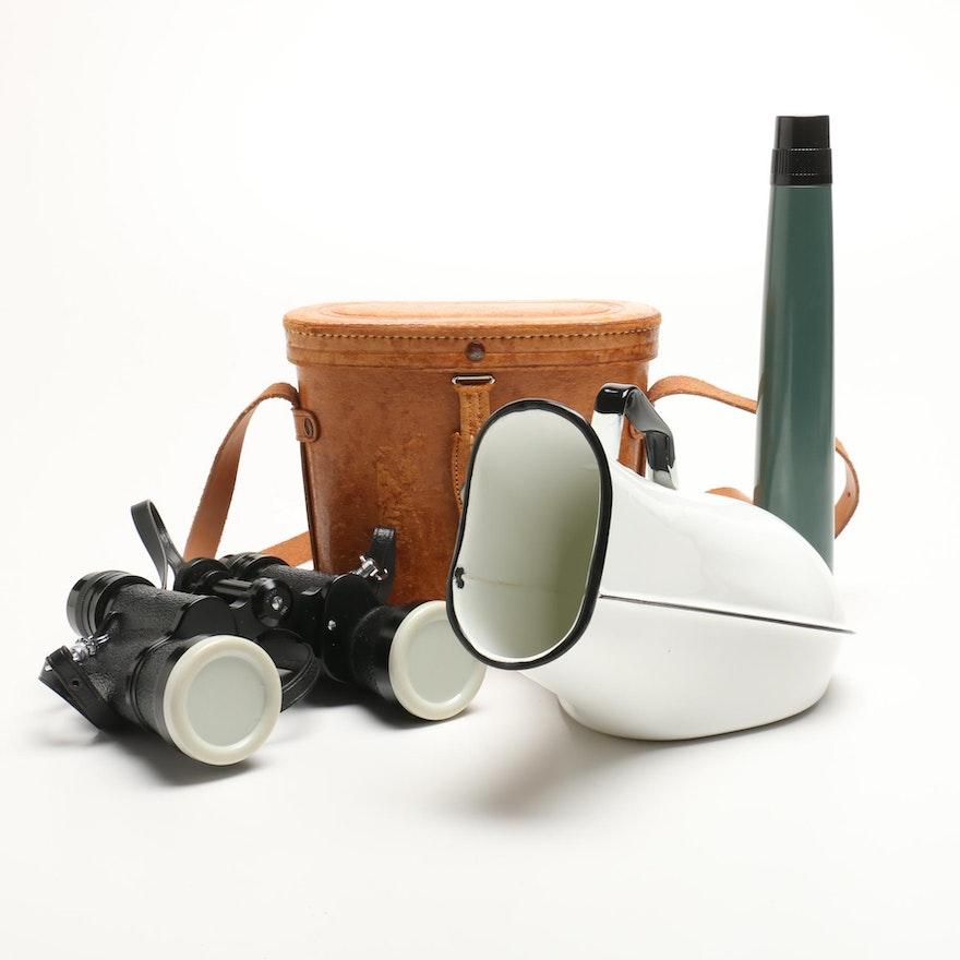 Binoculars and Portable Urinal