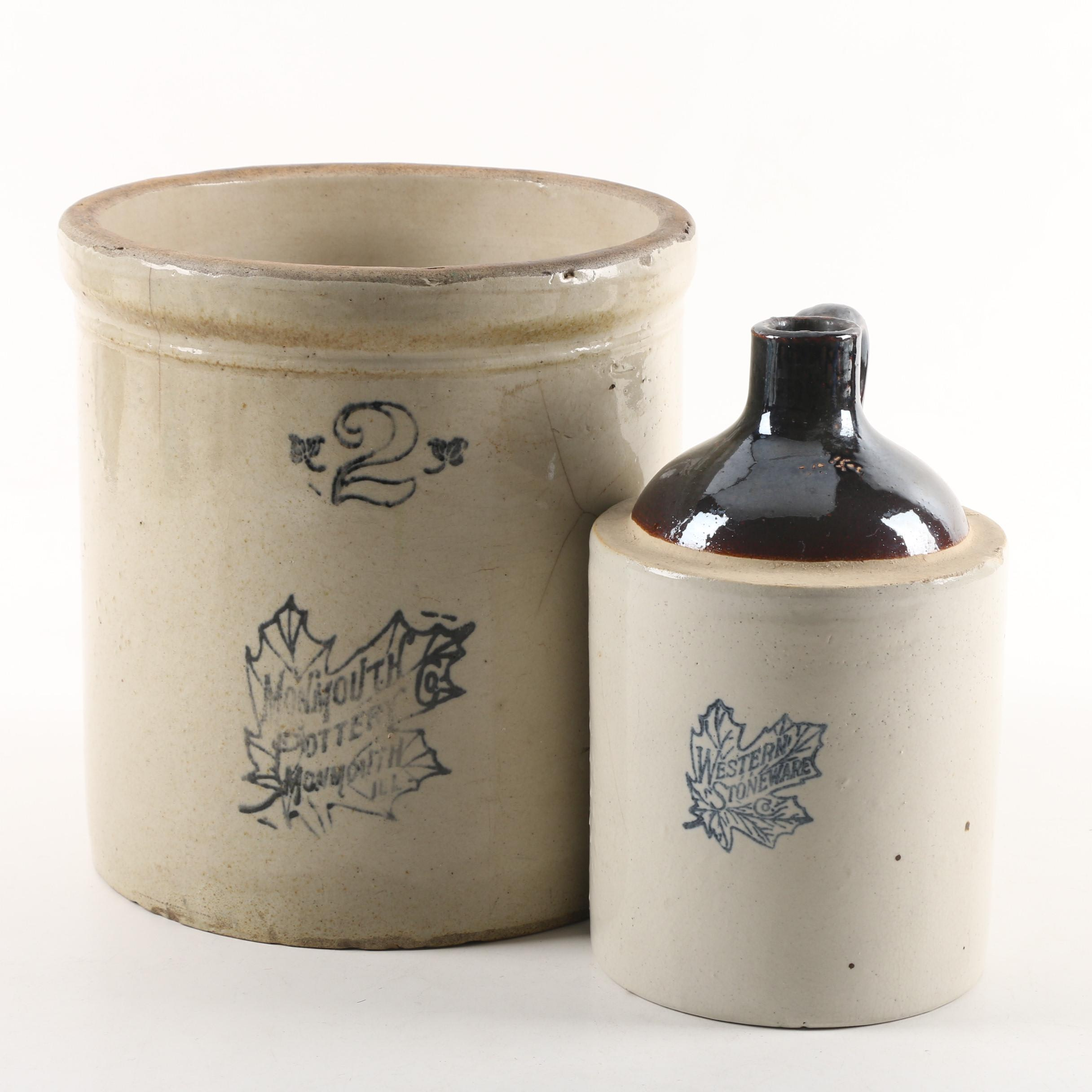 Vintage Monmouth Pottery 2-Gallon Crock with Western Stoneware Jug