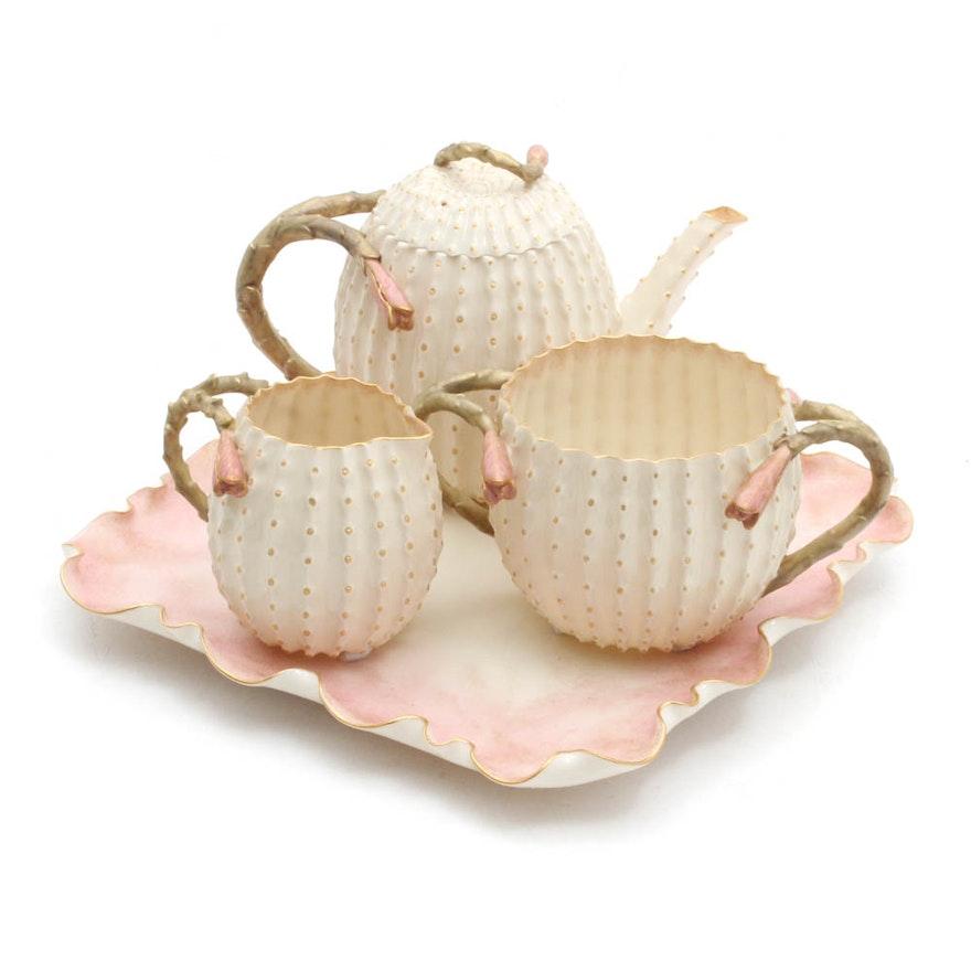 Antique Belleek Studio Hand-Painted Porcelain Tea Set