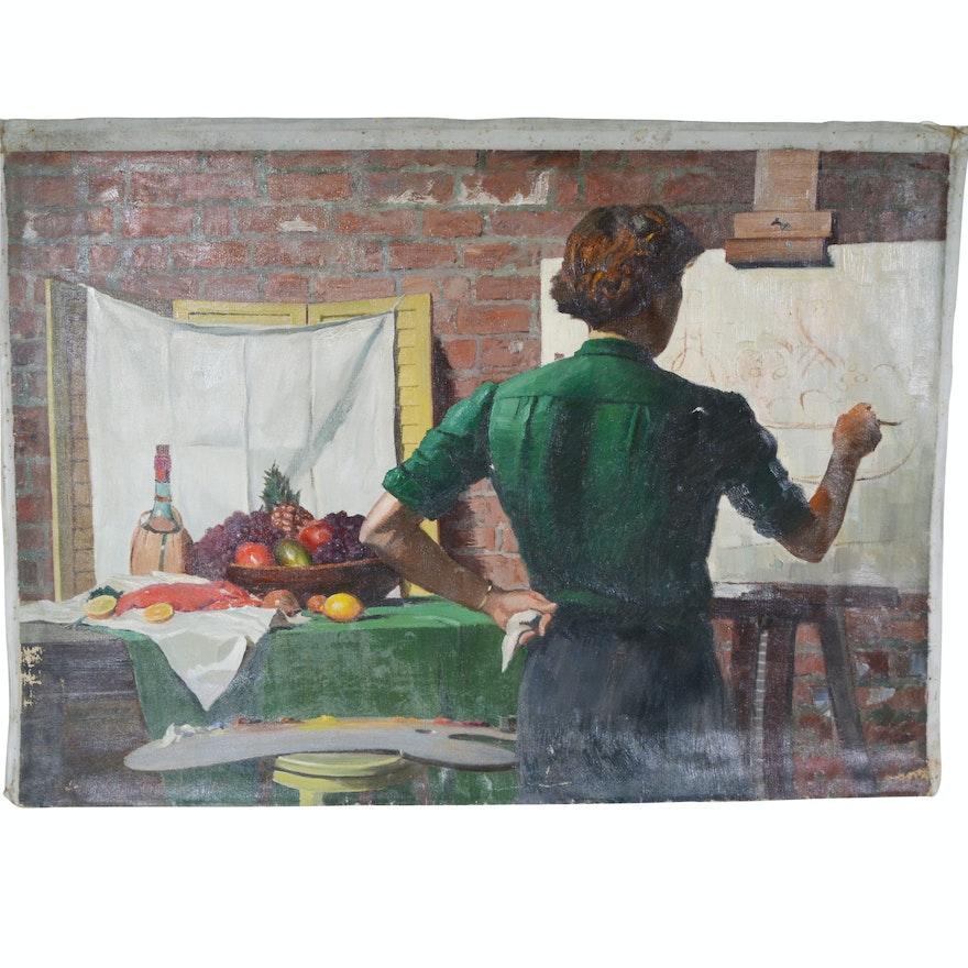 Edmond J. Fitzgerald Original Oil Painting of Artist at Work