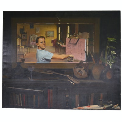 Edmond J. Fitzgerald Oil Painting of the Artist in His Studio