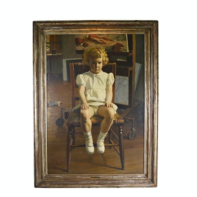"Edmond J. Fitzgerald Oil Painting ""Portrait of Desme"""
