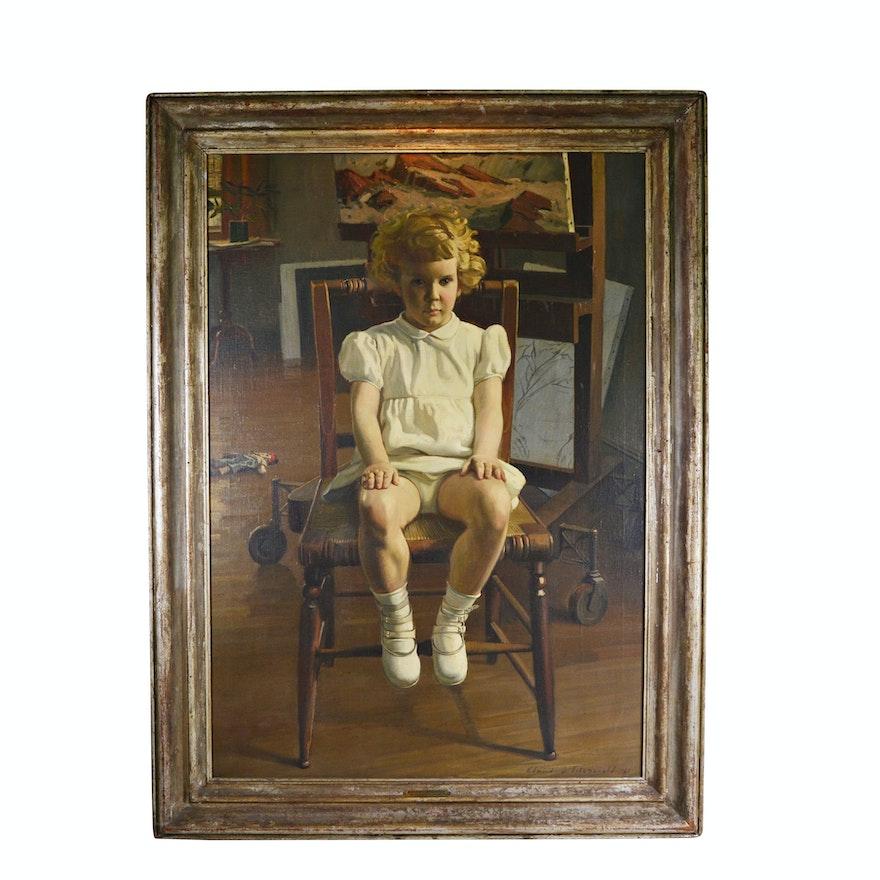 """Edmond J. Fitzgerald Oil Painting """"Portrait of Desme"""""""