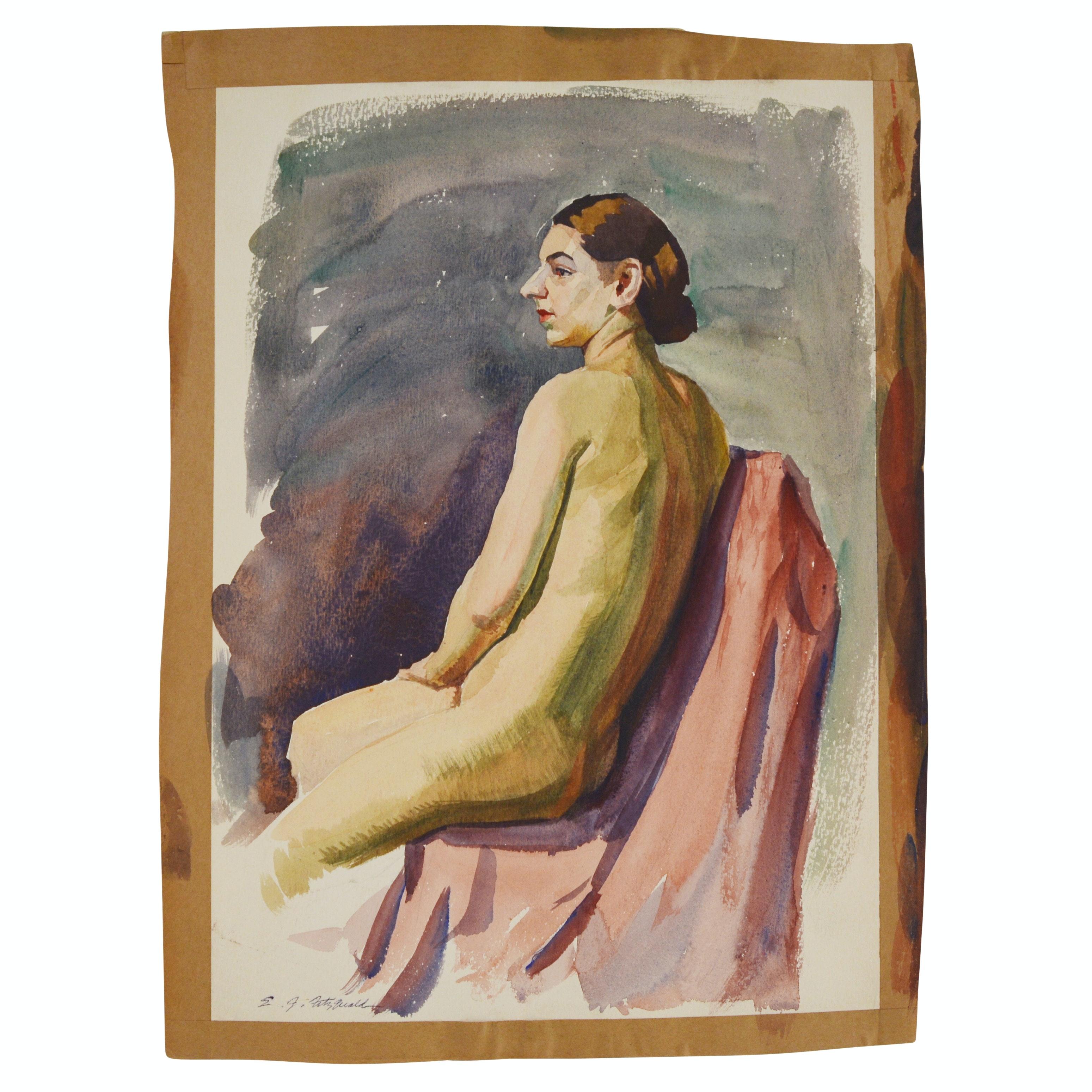 Edmond J. Fitzgerald Original Watercolor Seated Nude Woman