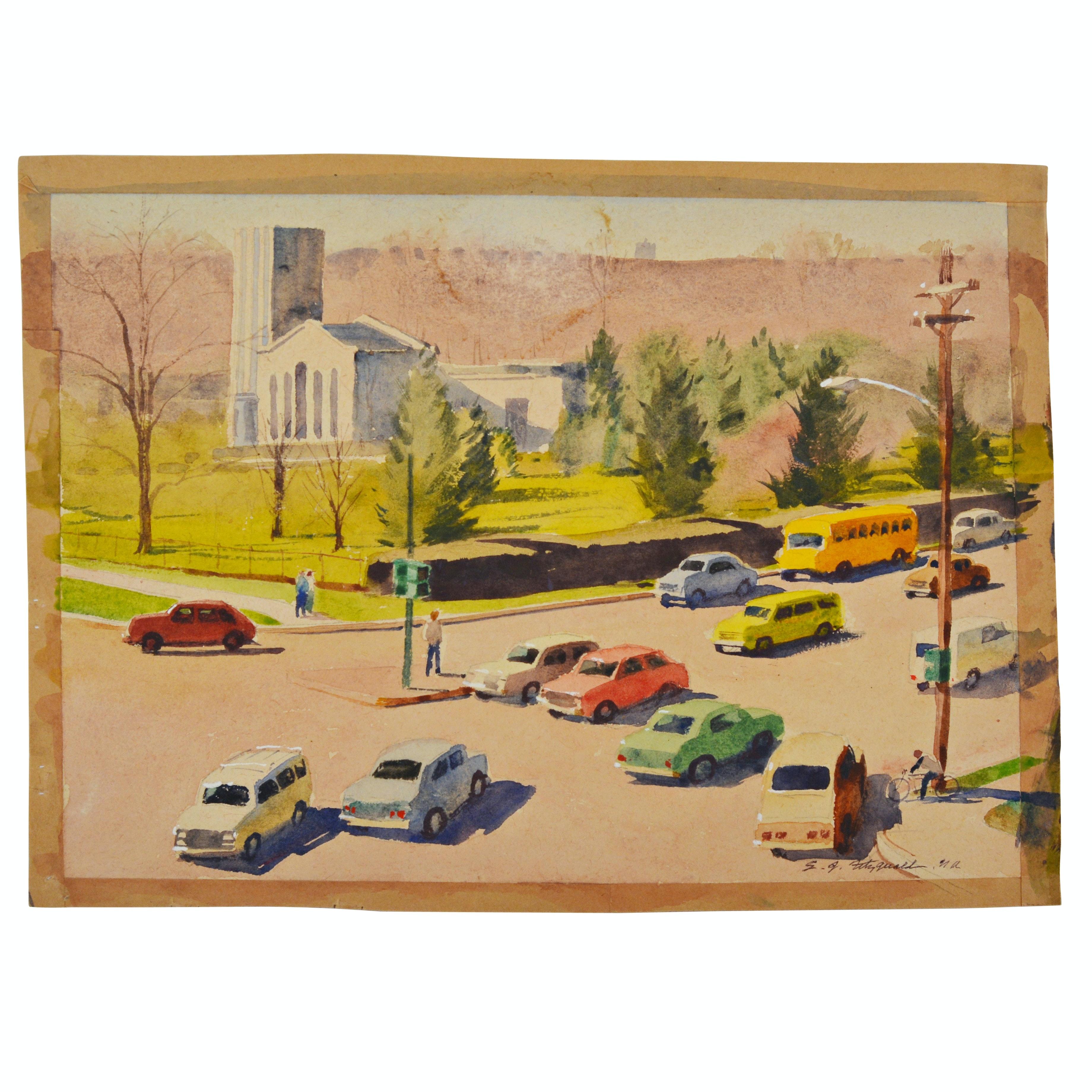"Edmond J. Fitzgerald Original Watercolor ""Spring Grove At Winton"""