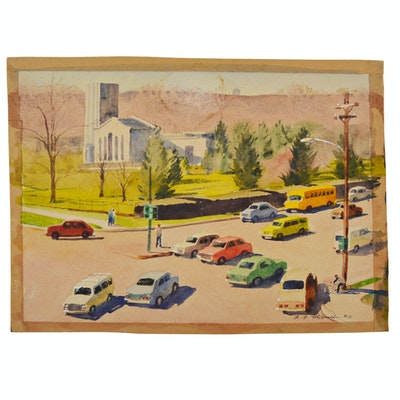"Edmond J. Fitzgerald Original Watercolor ""Spring Grove At Winton"""