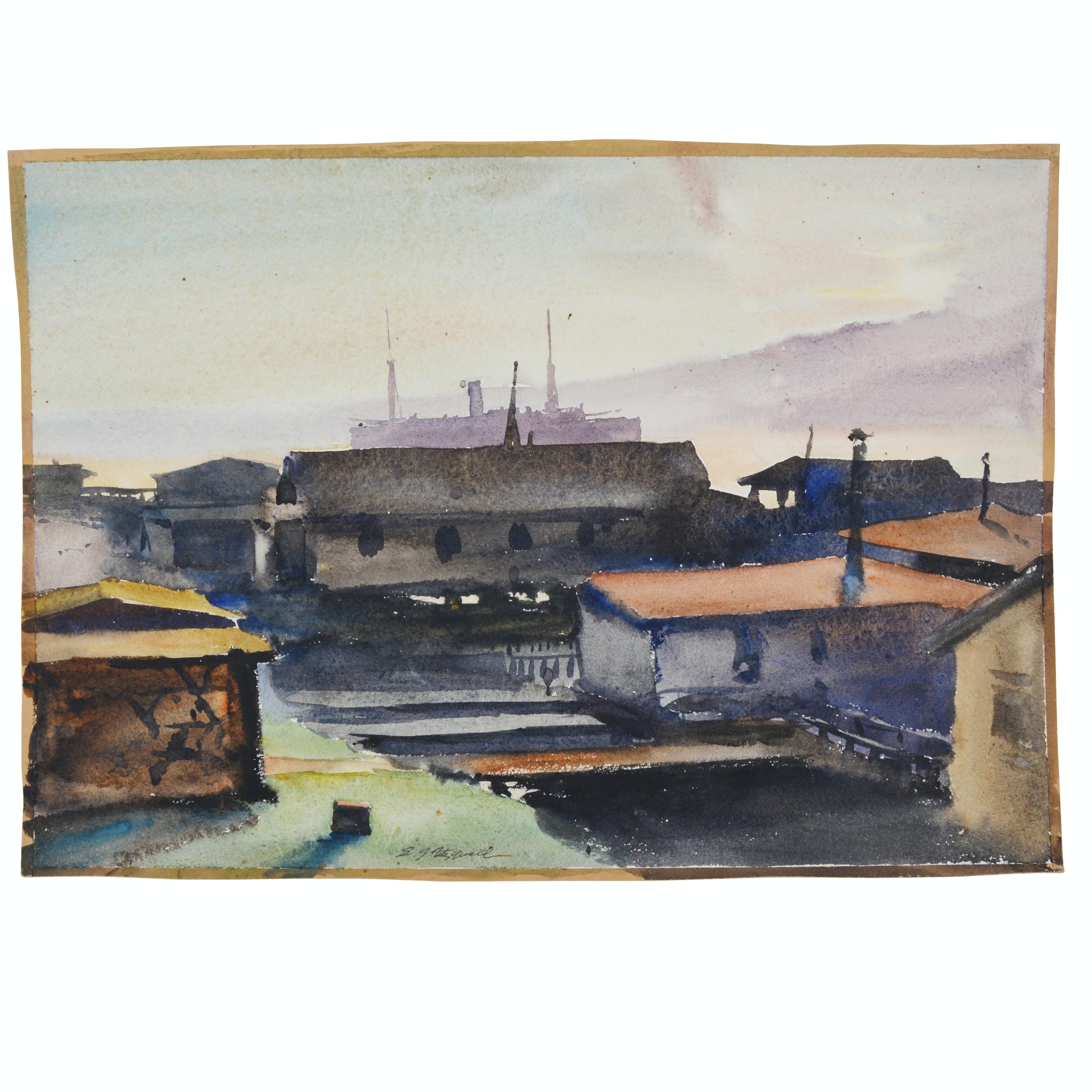 "Edmond J. Fitzgerald Original Watercolor ""Lake Union Seattle"""