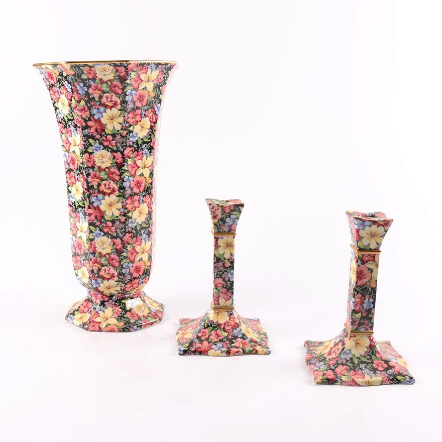 Royal Winton Florence Chintz Style Vase And Candlesticks Ebth