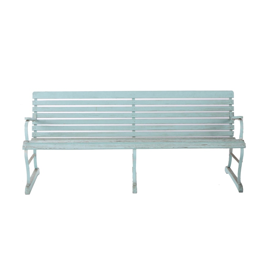 Pale Blue Painted Wood Slat Garden Bench with a Metal Frame : EBTH