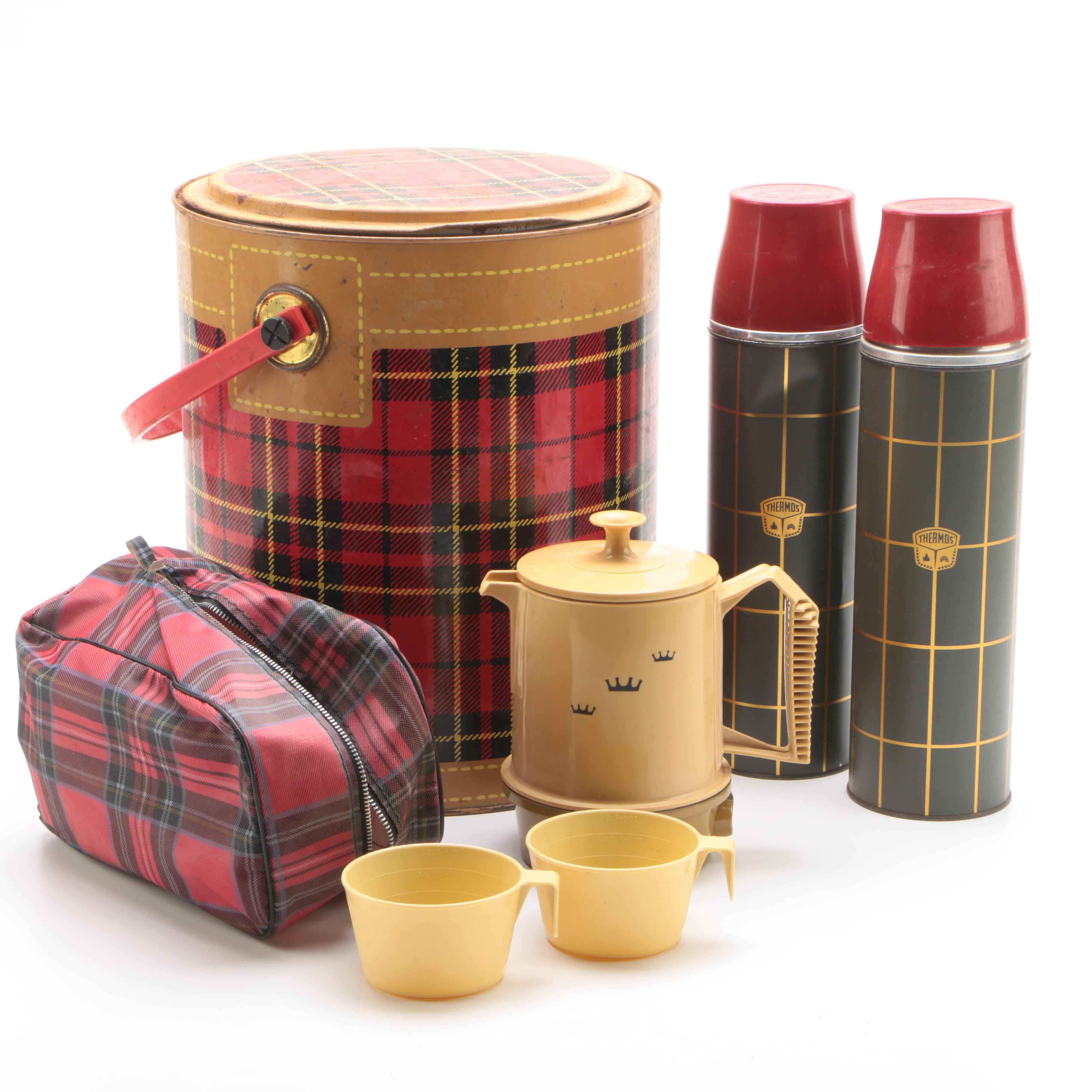 Thermos Brand Quart Size Metal Bottles, Coffee Peculator and More