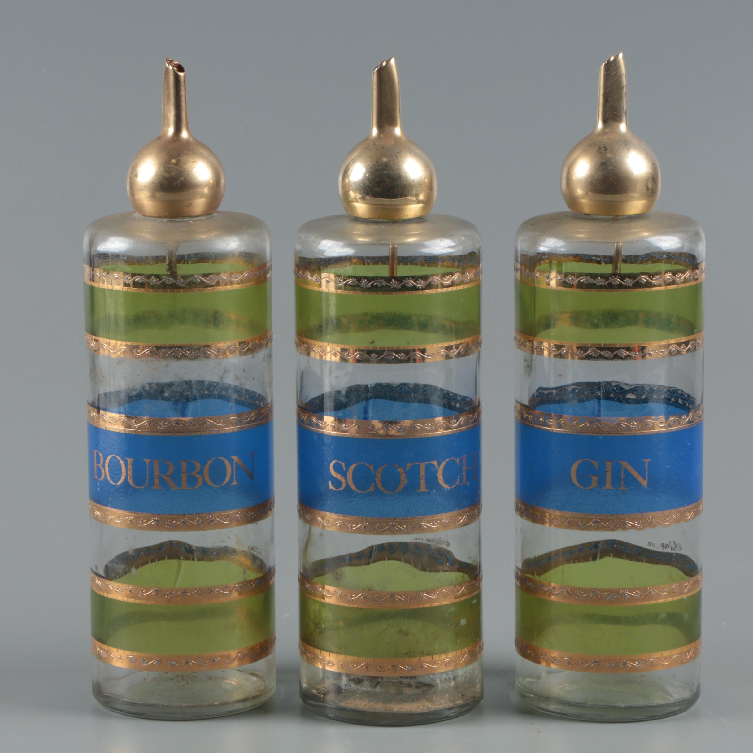 Vintage Culver Scotch, Bourbon and Gin Gold Encrusted and Glass Decanters