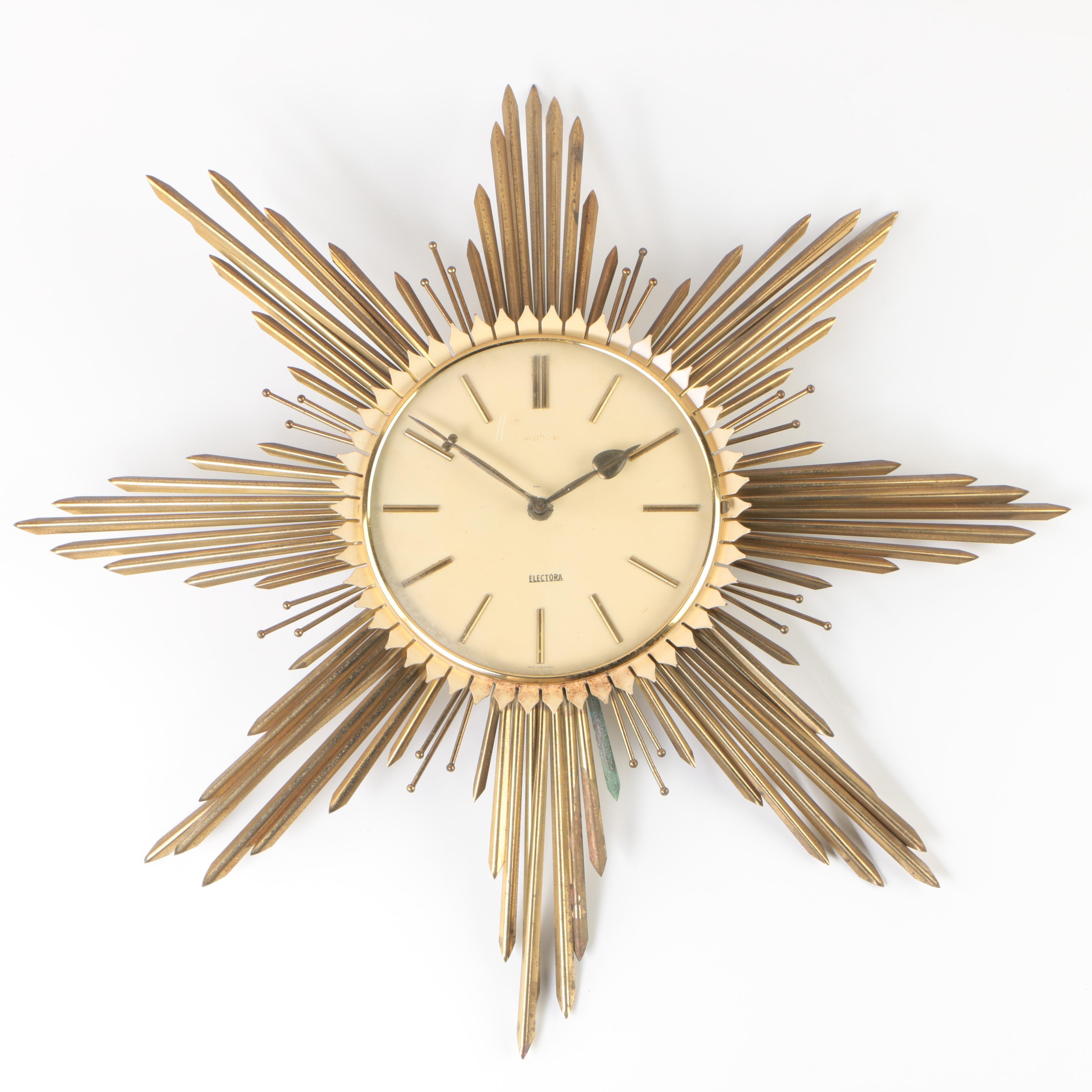 """1950s Junghans """"Electora"""" Sunburst Wall Clock"""