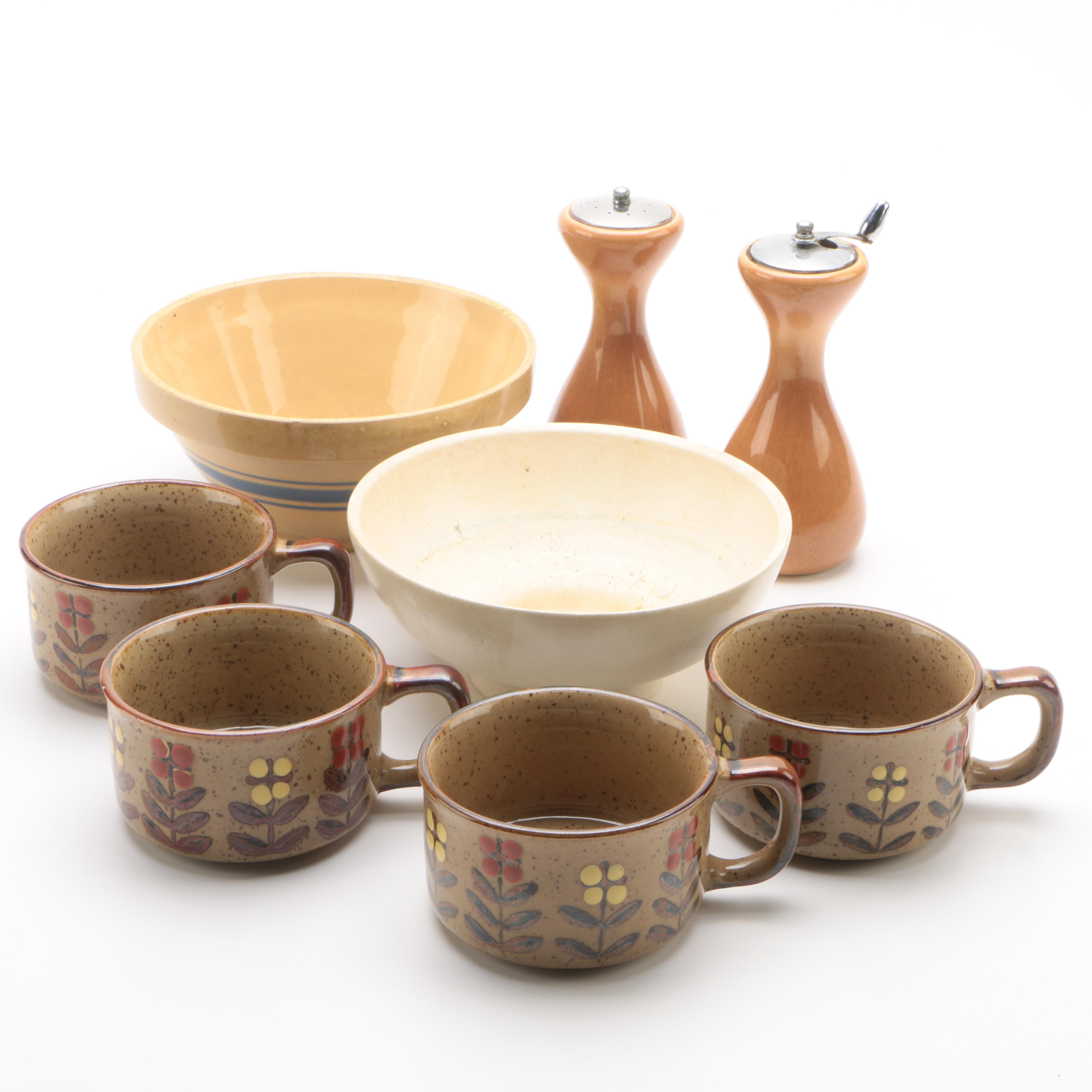 Vintage Haeger Pottery Bowl with Floral Soup Mugs and Pepper Mill