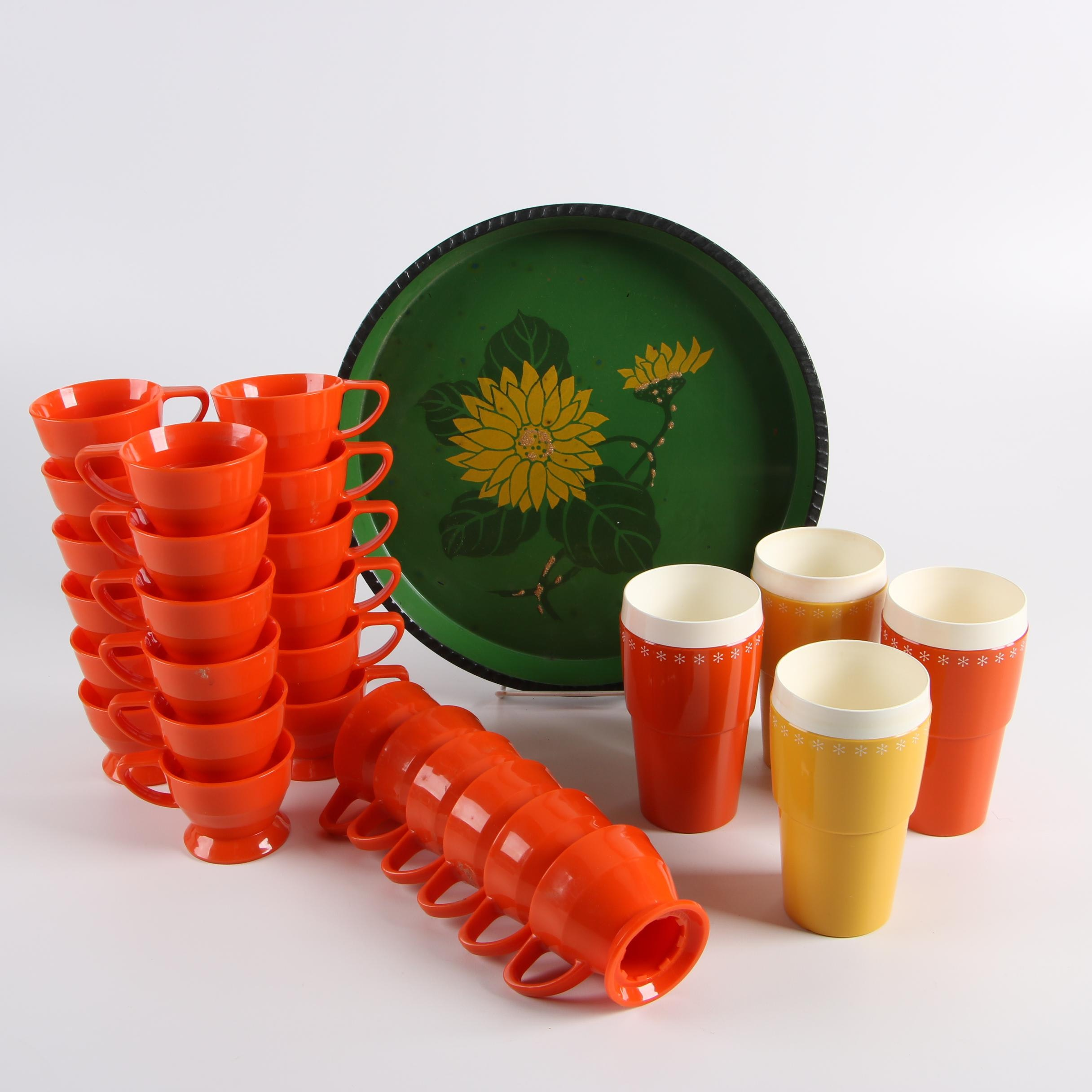 Vintage Solo Cup Co. Orange Plastic Cup Holders with Tray and Tumblers