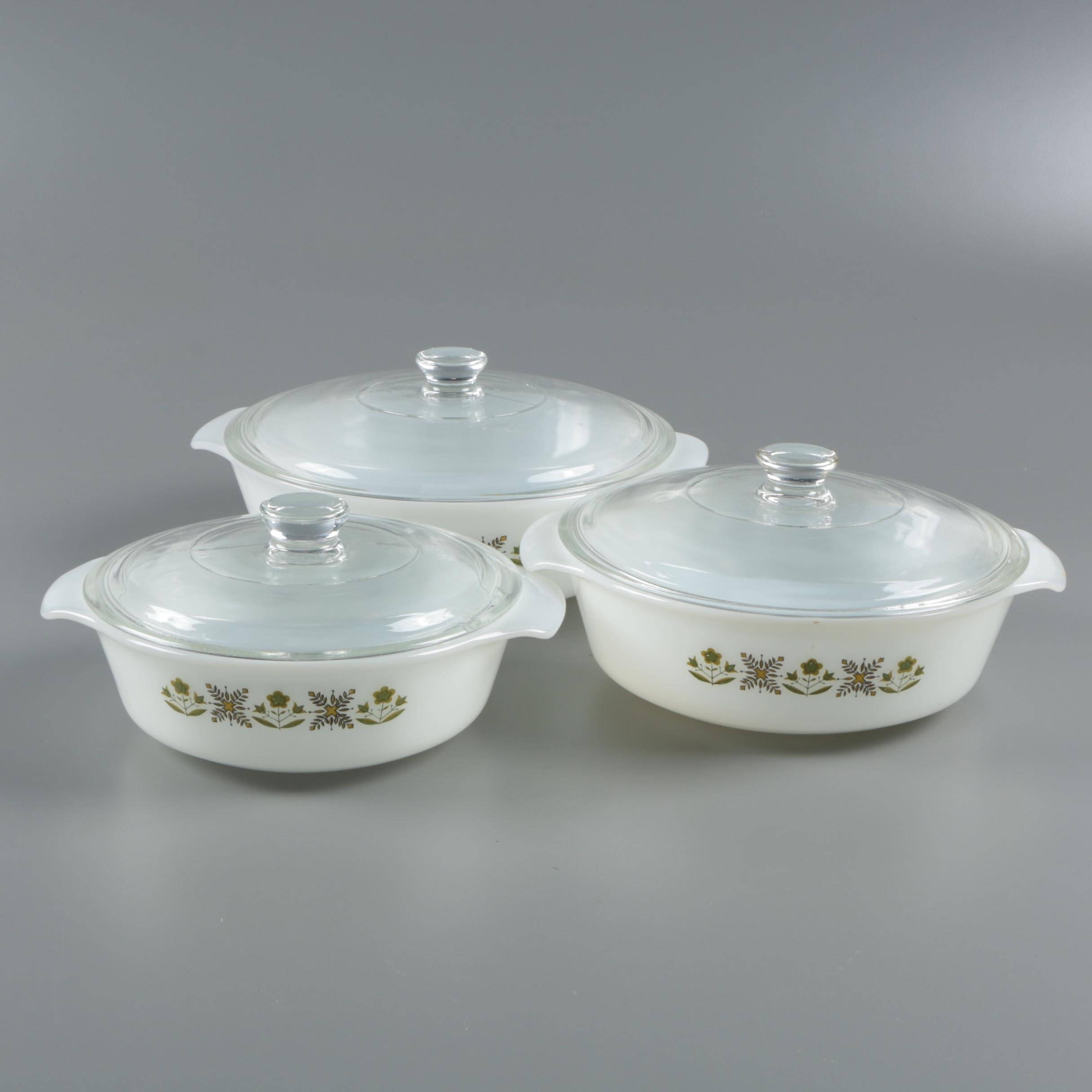 "Anchor Hocking Fire-King ""Meadow Green"" Milk Glass Casserole Dishes c. 1968-76"