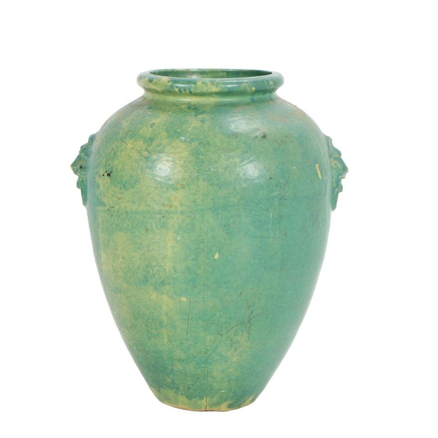 Large Green Ceramic Vase Ebth