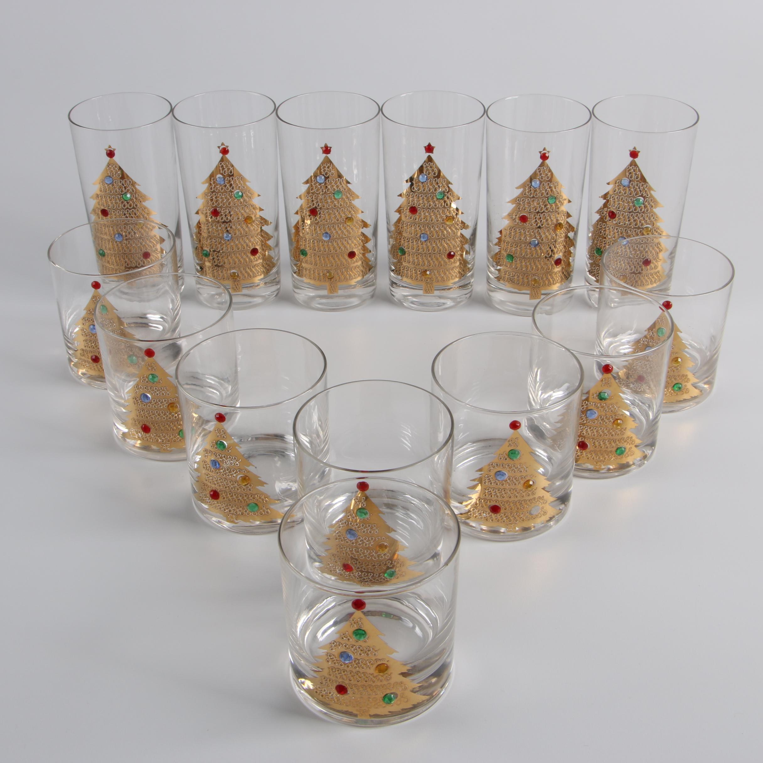 Mid-Century Culver Jeweled Christmas Tree Highball and Old Fashioned Glasses