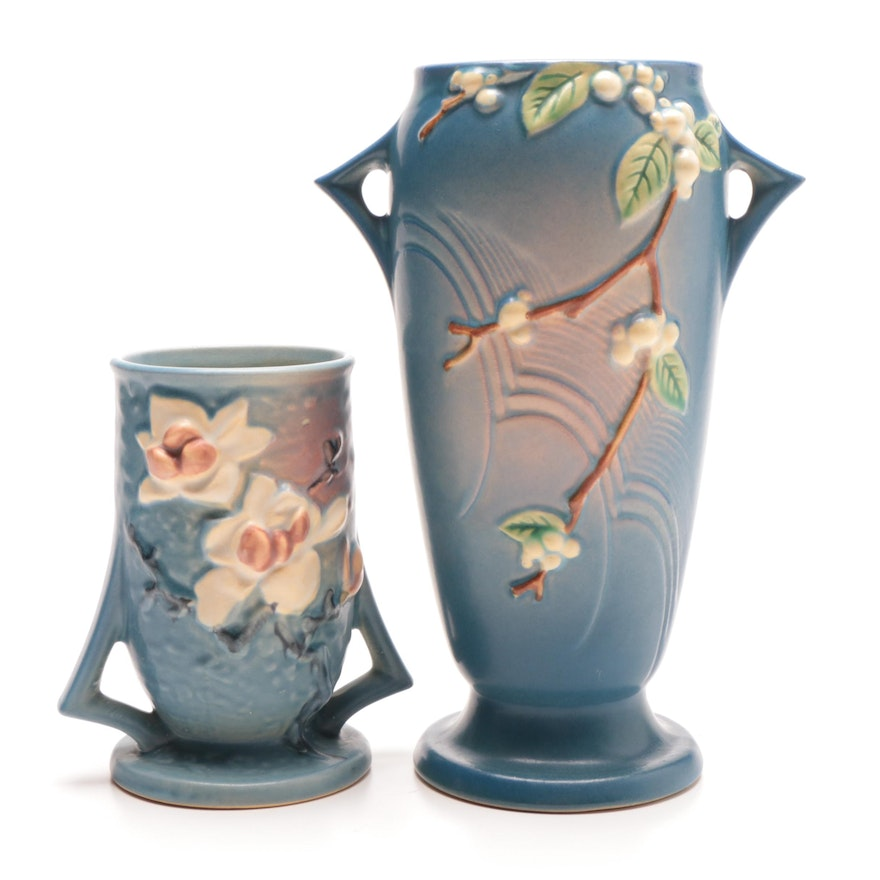 Roseville Snowberry And Magnolia Pattern Vases Ebth