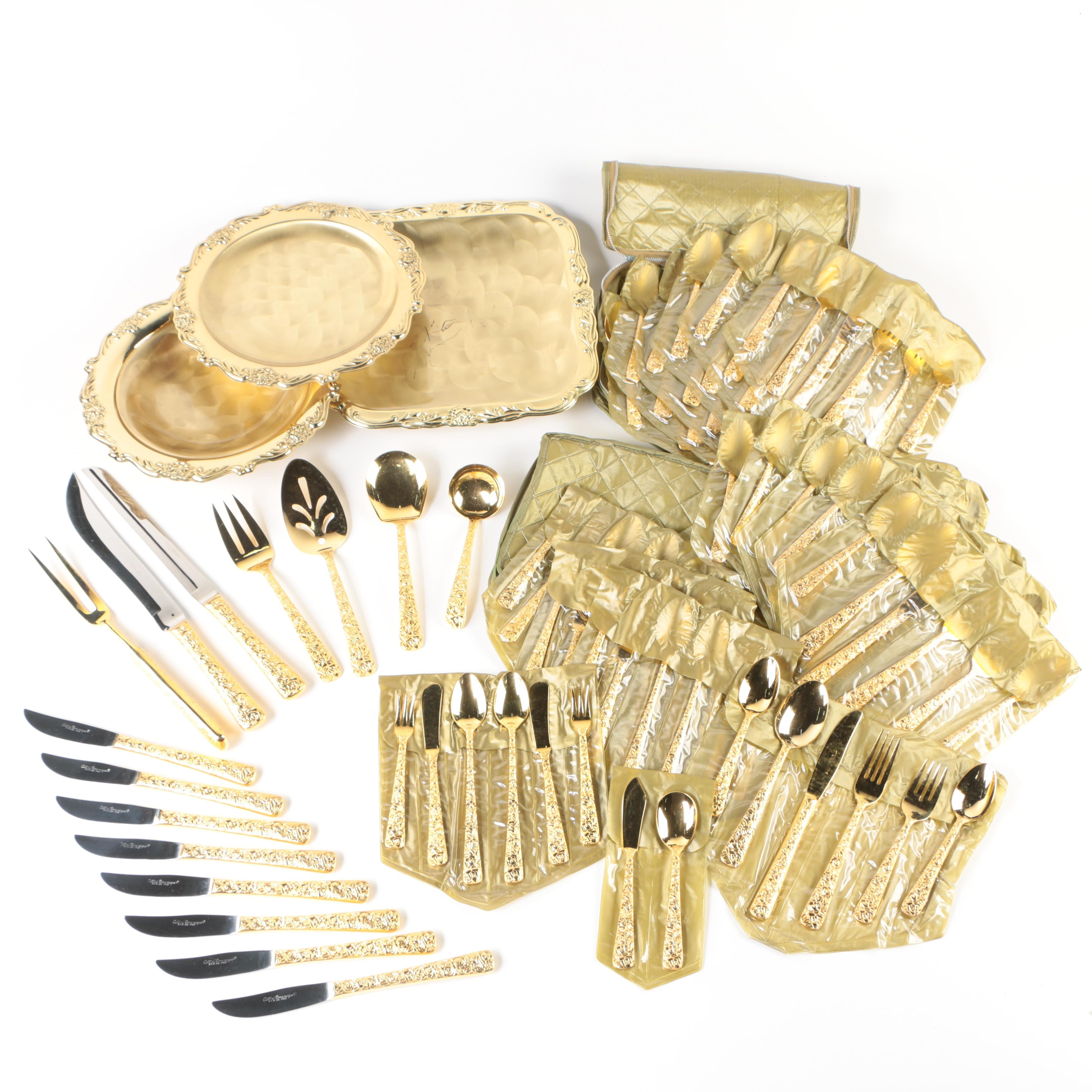 """Japanese """"Cellini Romanesque"""" Gold Electroplate Flatware and Serveware"""
