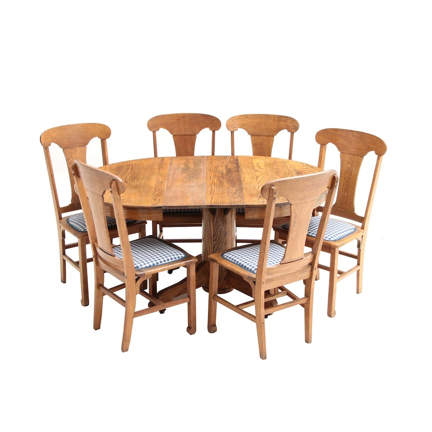 Vintage Oak Dining Table With Antique Cochran Chair