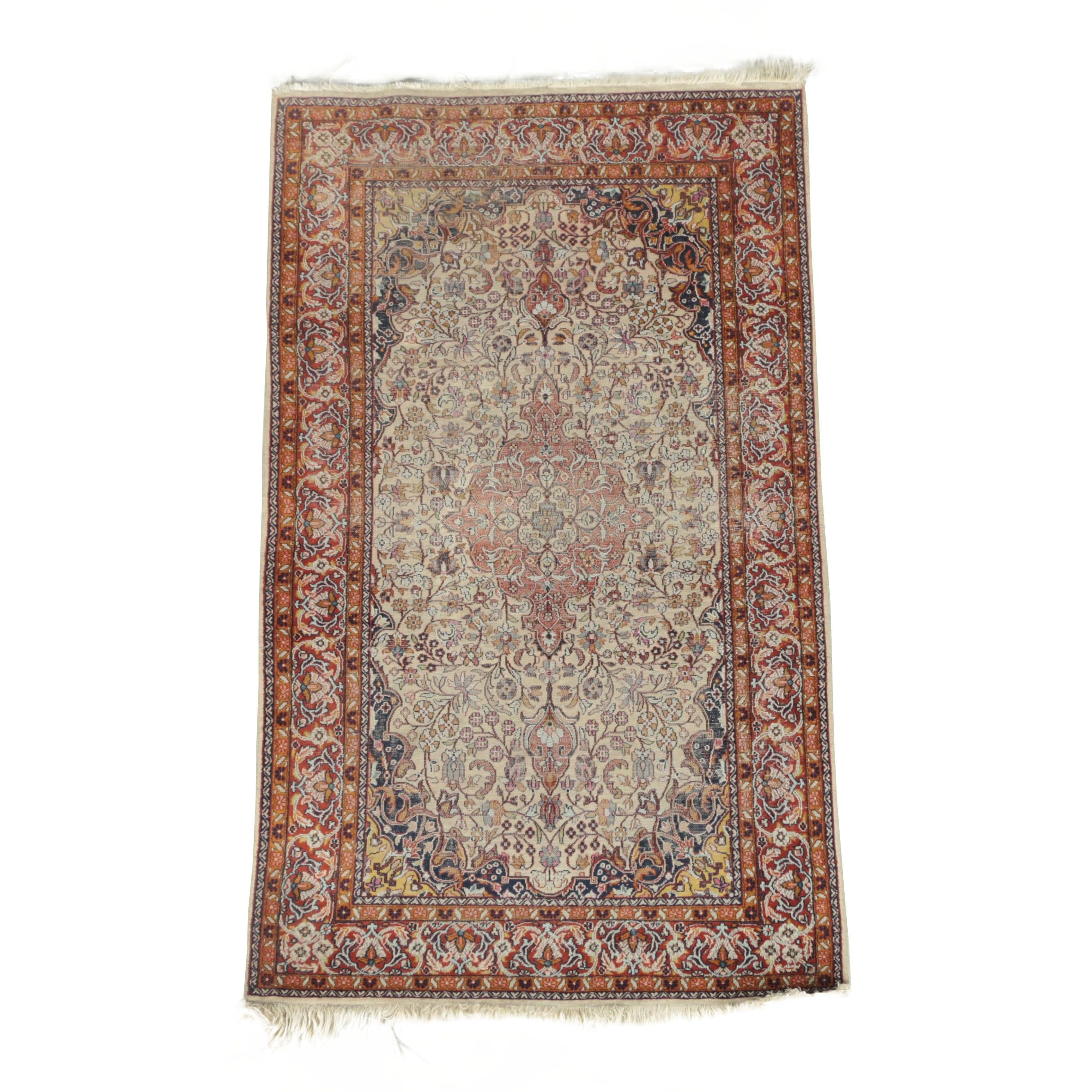 Vintage Hand-Knotted Persian Kashan Wool Accent Rug
