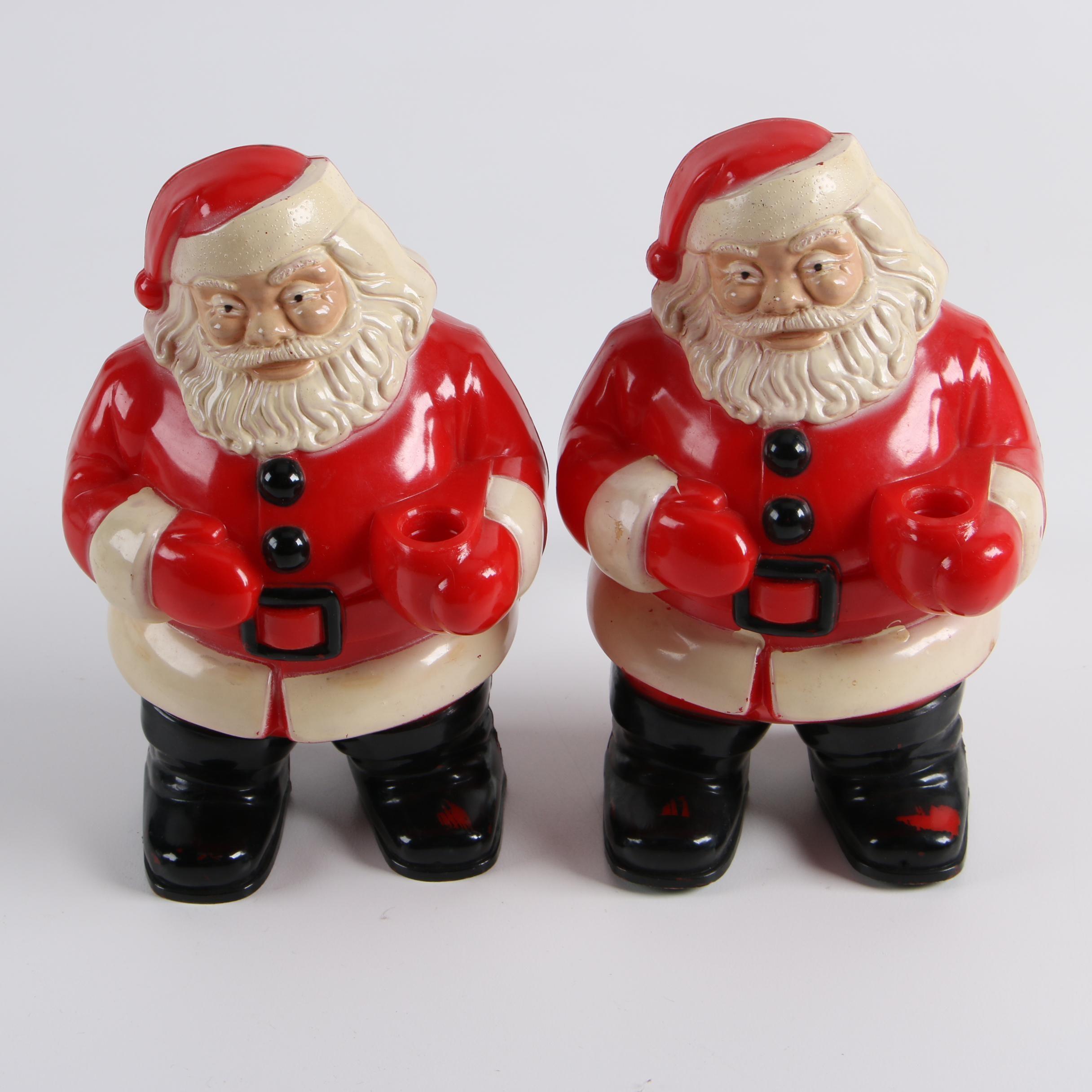 Vintage Illuminated Santa Claus Figurines