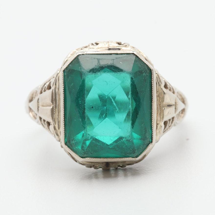 6ccc6bdde256 Art Deco 14K White Gold Green Glass Ring   EBTH