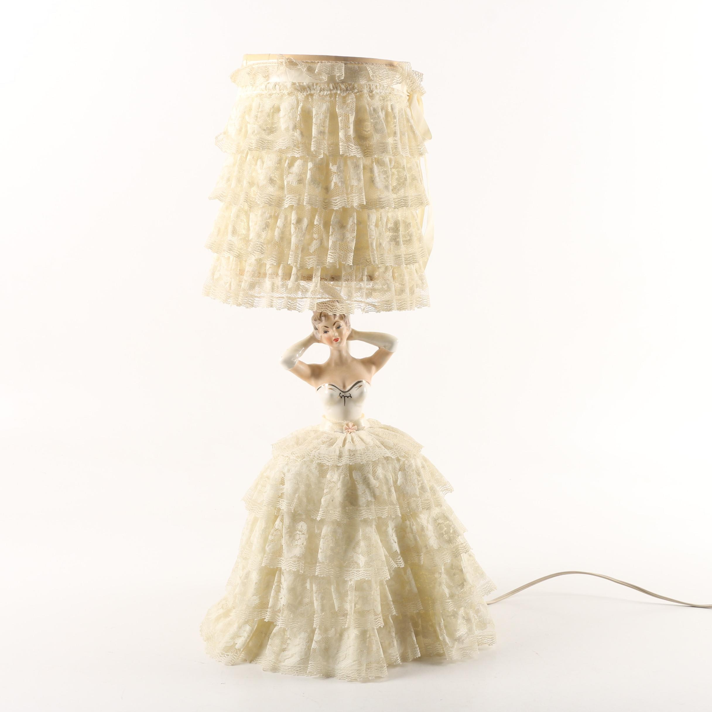 Mid Century Figural Ceramic Table Lamp with Tiered Lace Dress and Shade