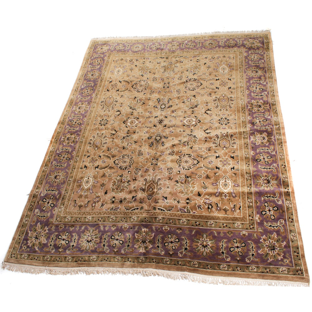 Vintage Hand-Knotted Indo-Persian Tabriz Area Rug