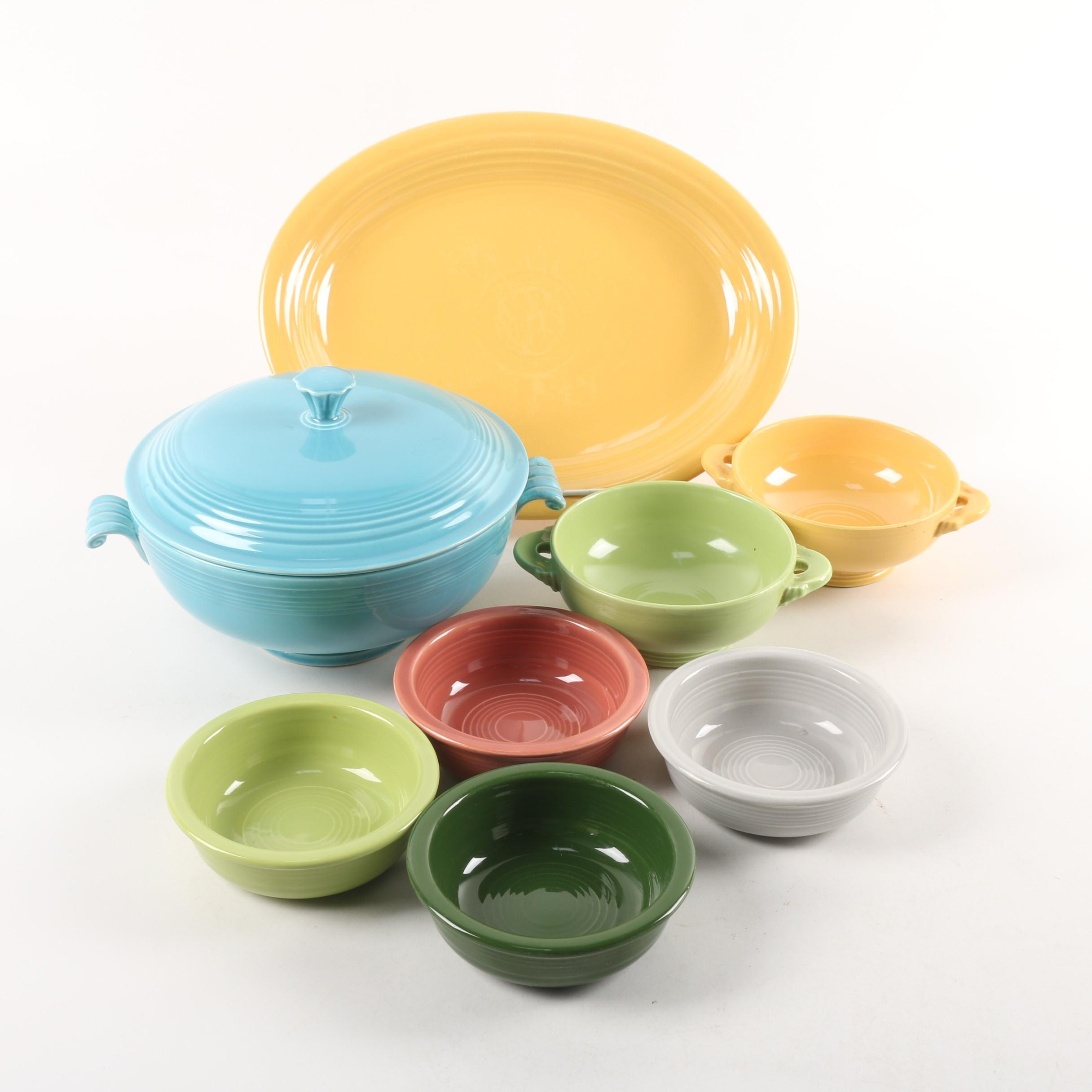 """Homer Laughlin """"Fiesta"""" Tableware including Covered Casserole and Platter"""