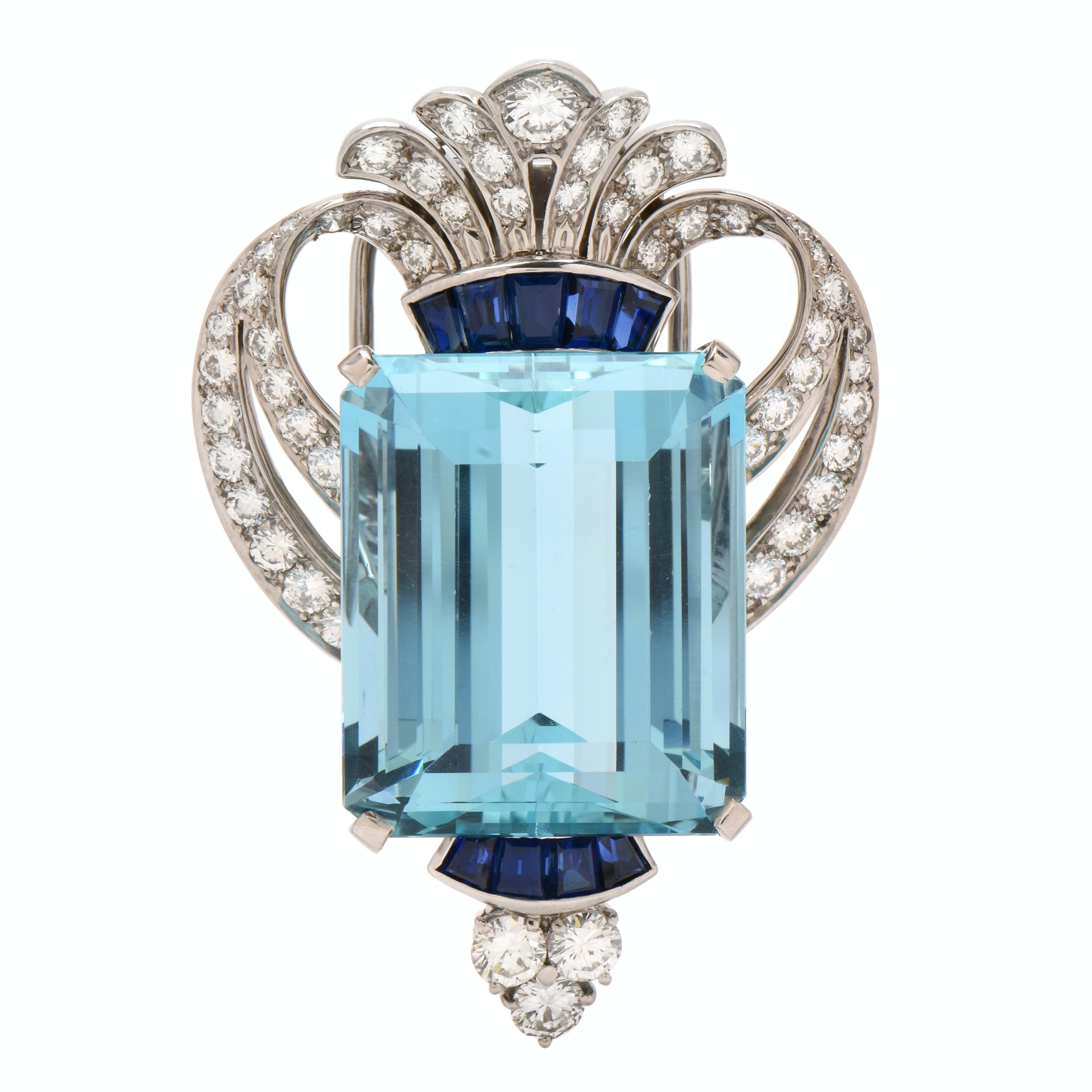 Tiffany & Co. Palladium 44.02 CT Aquamarine 2.48 CTW Diamond and Sapphire Brooch
