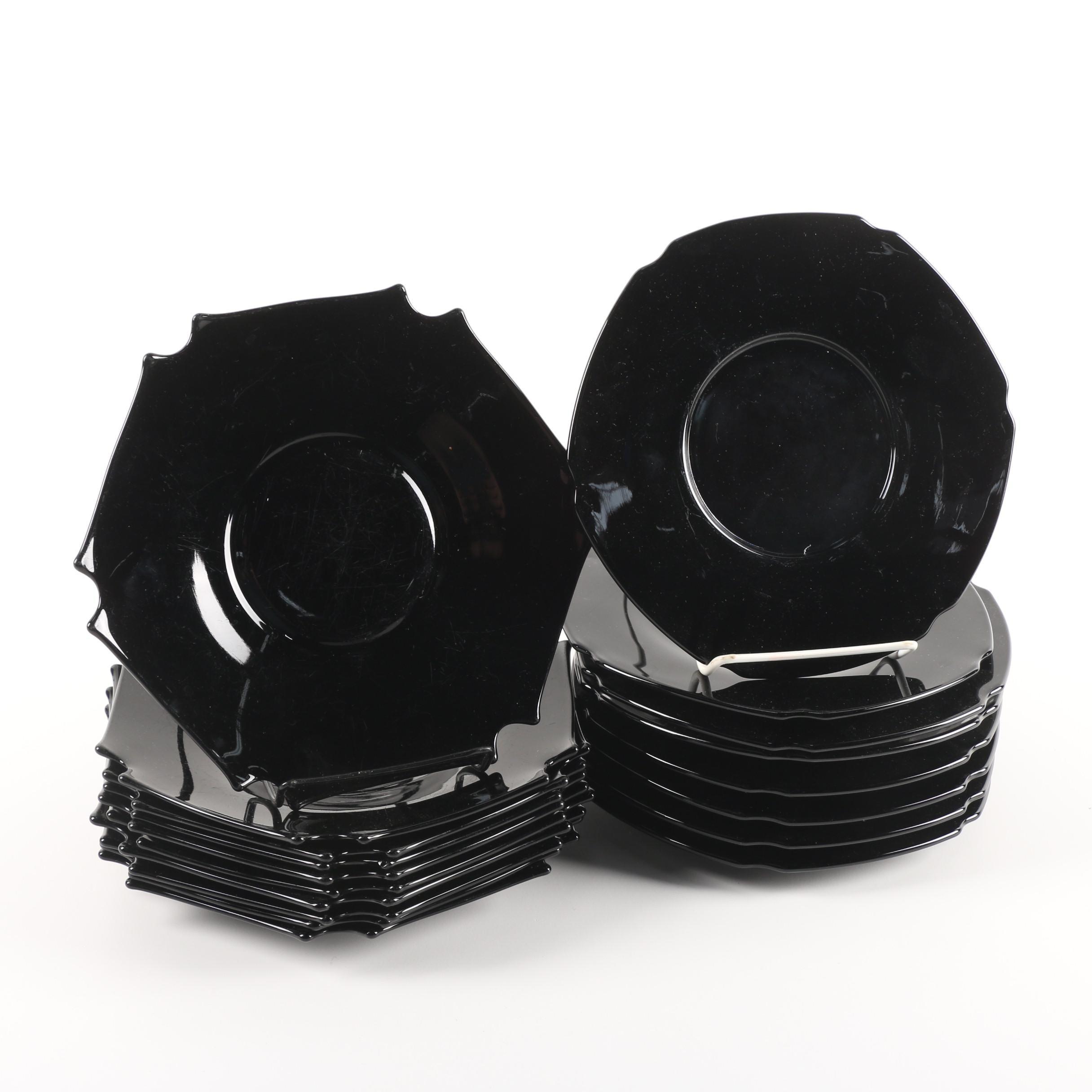 Tiara Exclusives Black Amethyst Glass Plates c.1970's