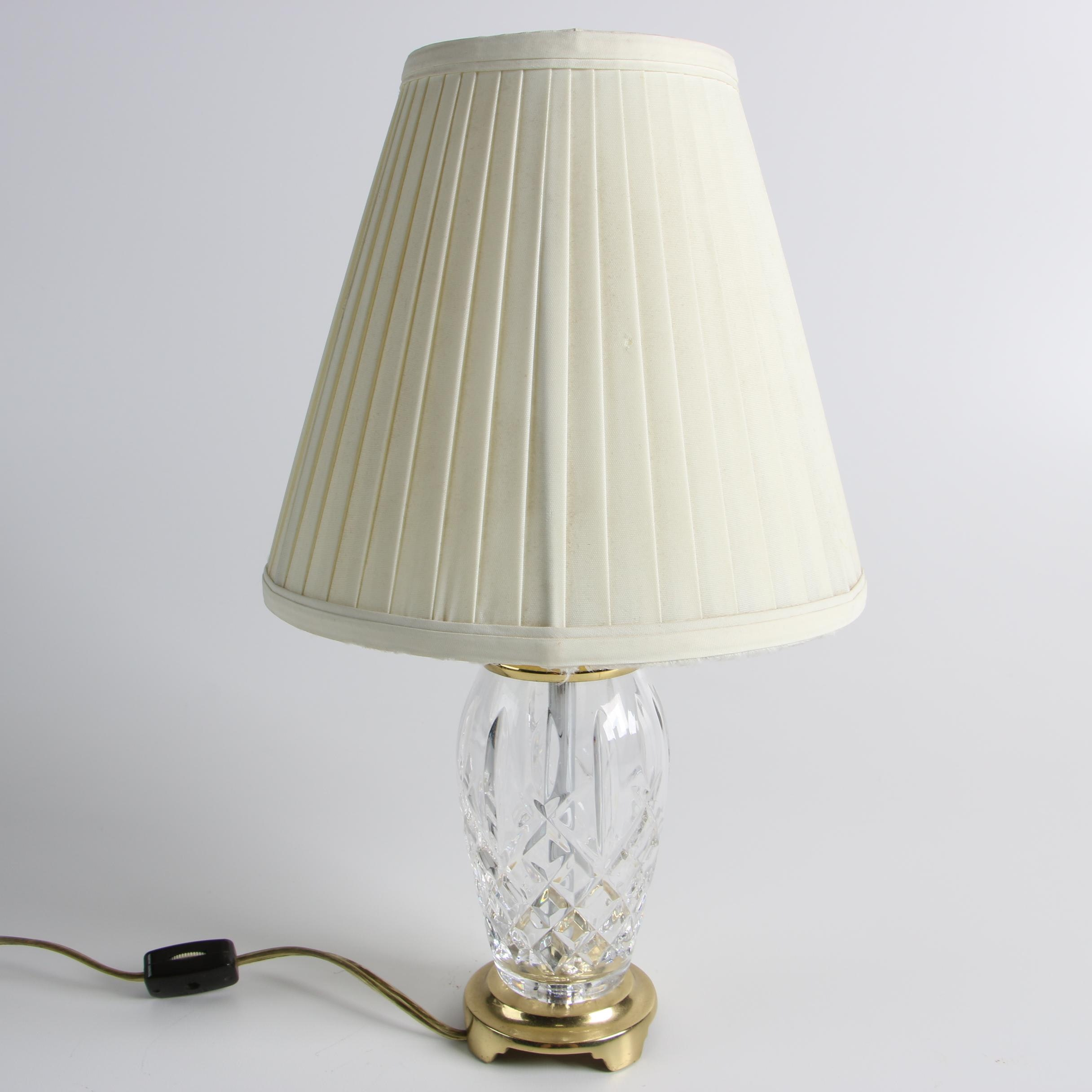 "Waterford ""Lismore"" Lamp and Pleated Fabric Shade with Crescent Brass Base"