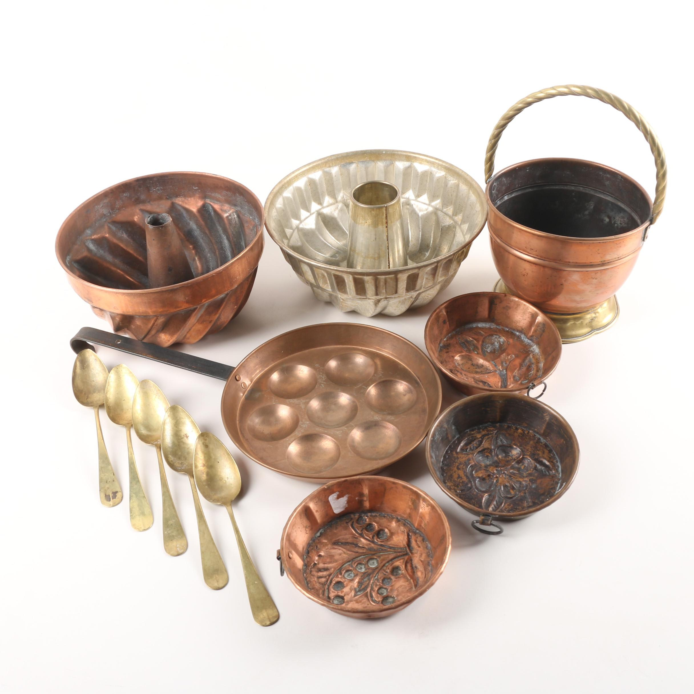 Vintage Brass, Copper, and Metal Cookware and Bundt Cake Molds