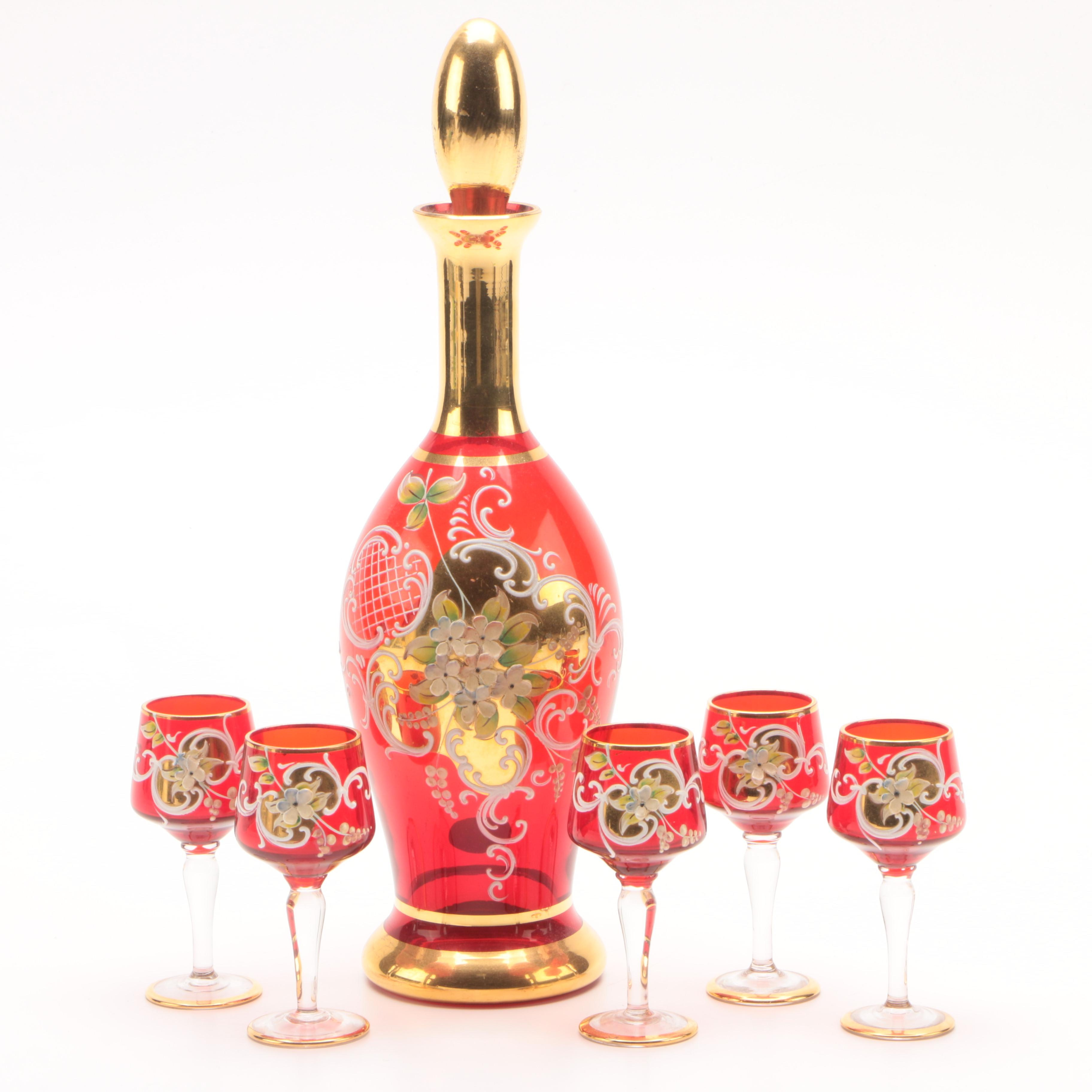 Vintage Venetian Crystal Ruby Red Painted Decanter and Cordial Glasses