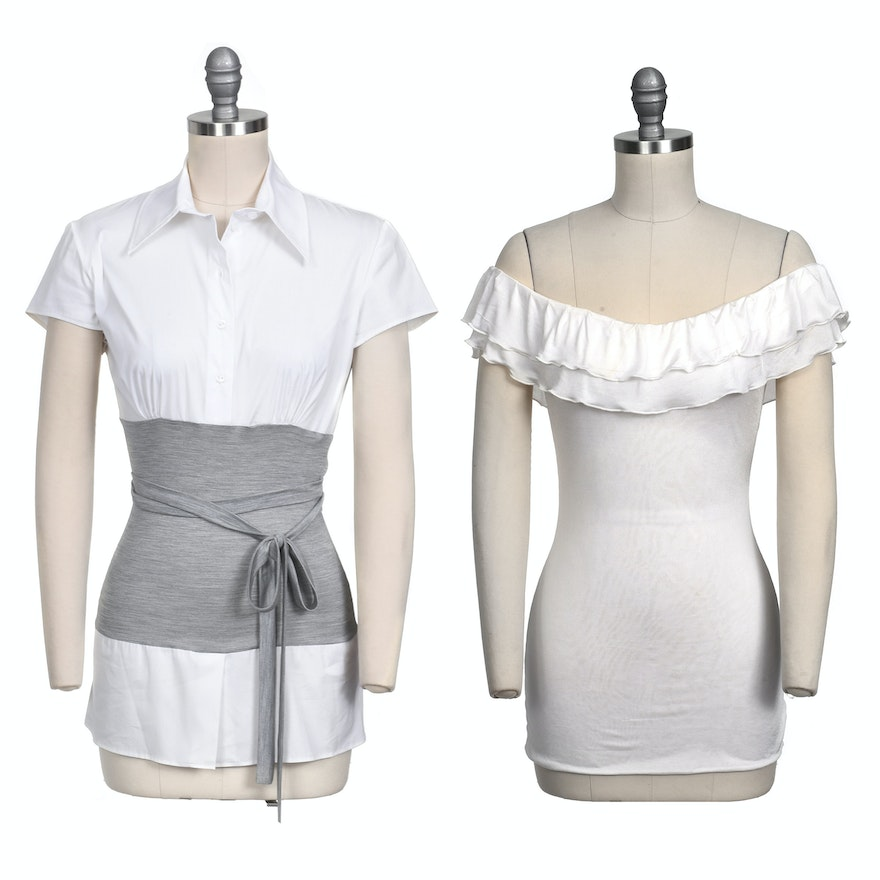 4fcfc0ed83baf1 Two Christian Dior of Paris Tops In Silk Blend and Cotton Blend | EBTH