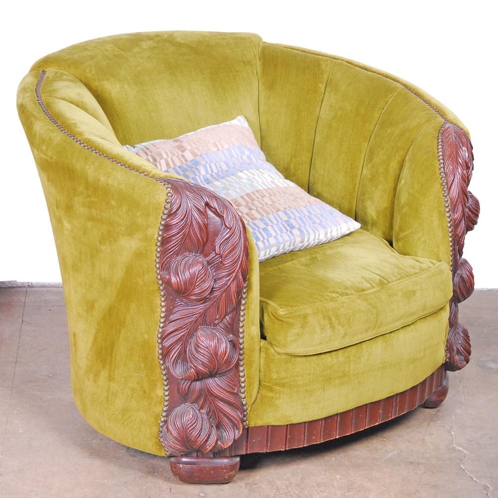 Green Velvet Channeled Tub Chair