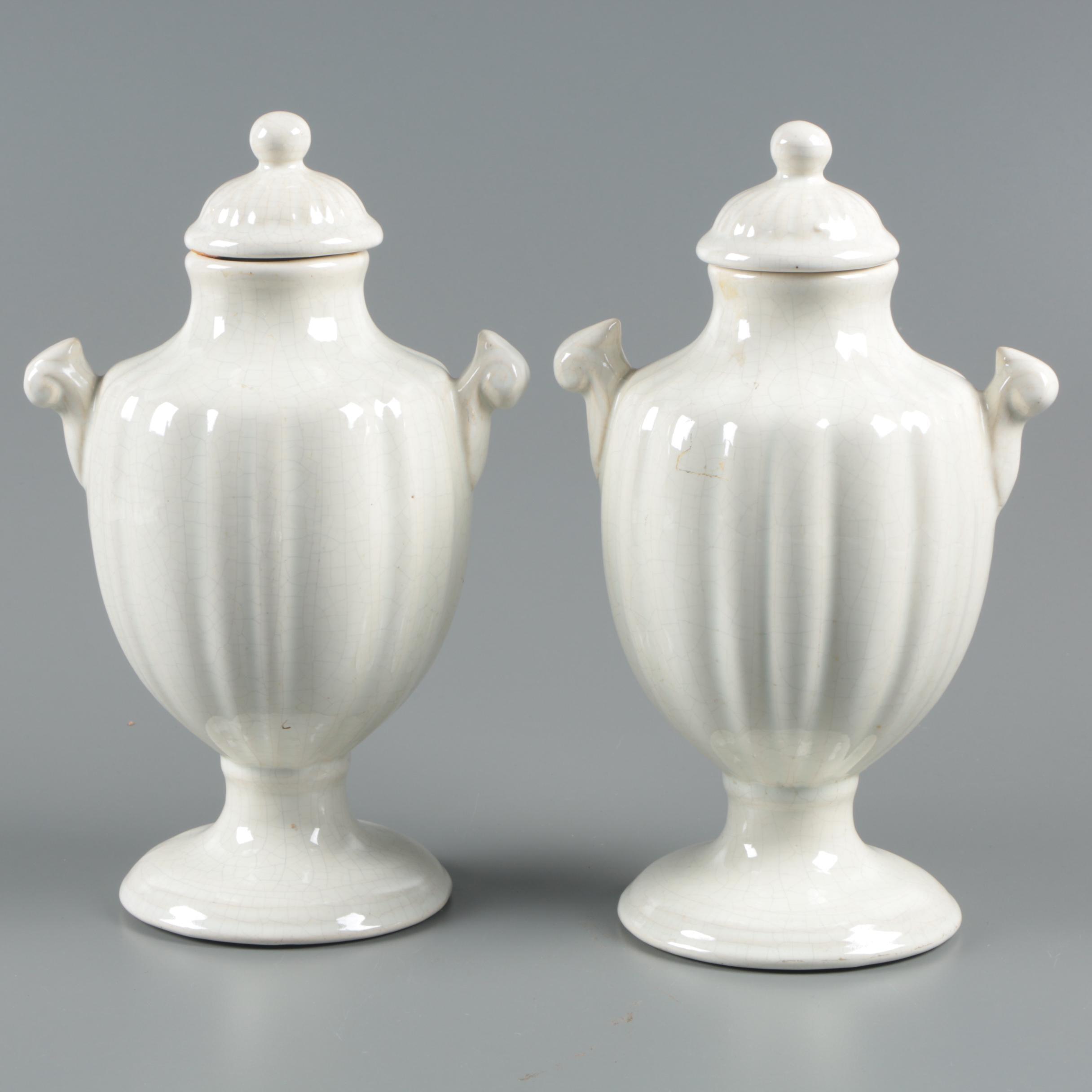 Glazed White Earthenware Urns